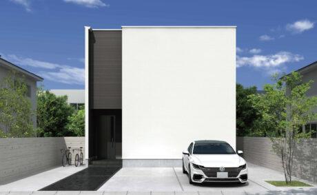 シンプルな外観が個性になる<br>開放的な大空間が魅力のコンパクト住宅。